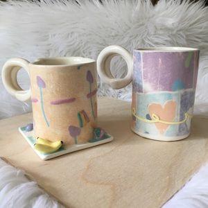 Vintage 80's Pastel Abstract Shape Ceramic mugs